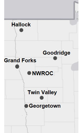 A map of northwest Minnesota with weather station locations.