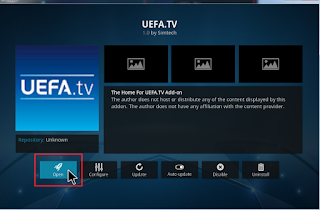 click open to begin watching more sports channel on uefa tv addon on kodi