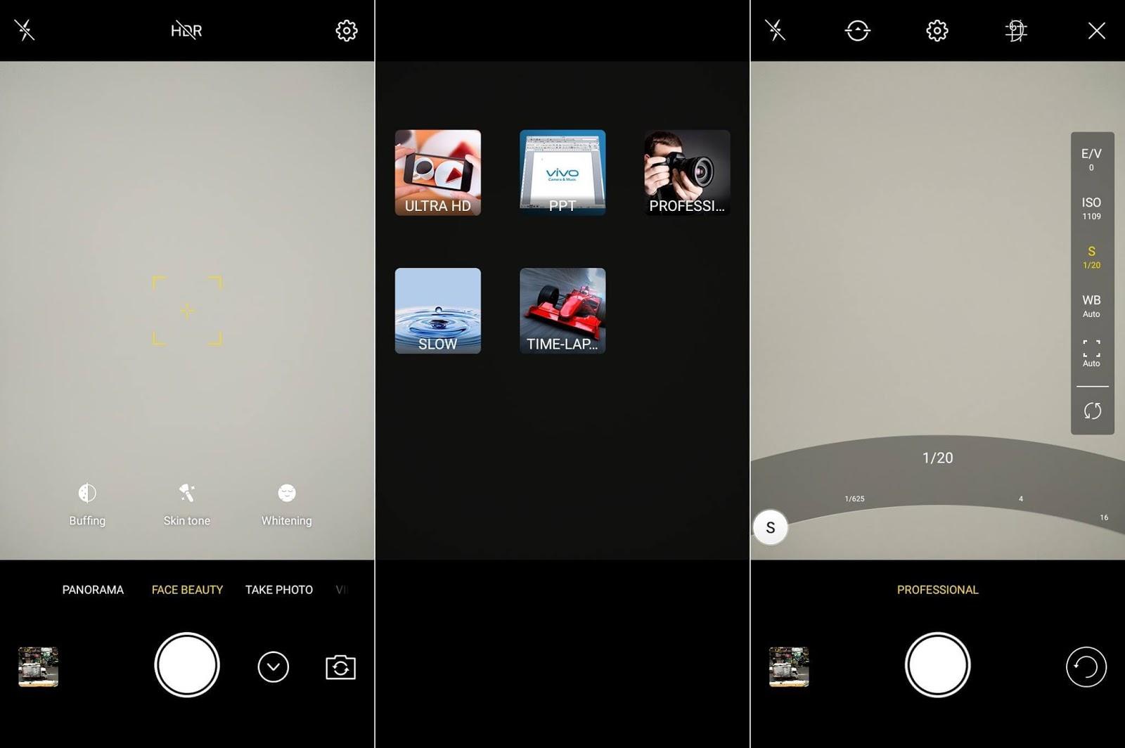 Vivo V7+ Camera UI