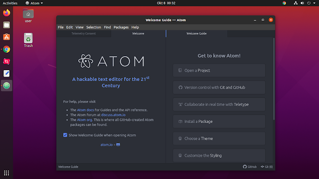 Atom Text Editor in Ubuntu 20.04