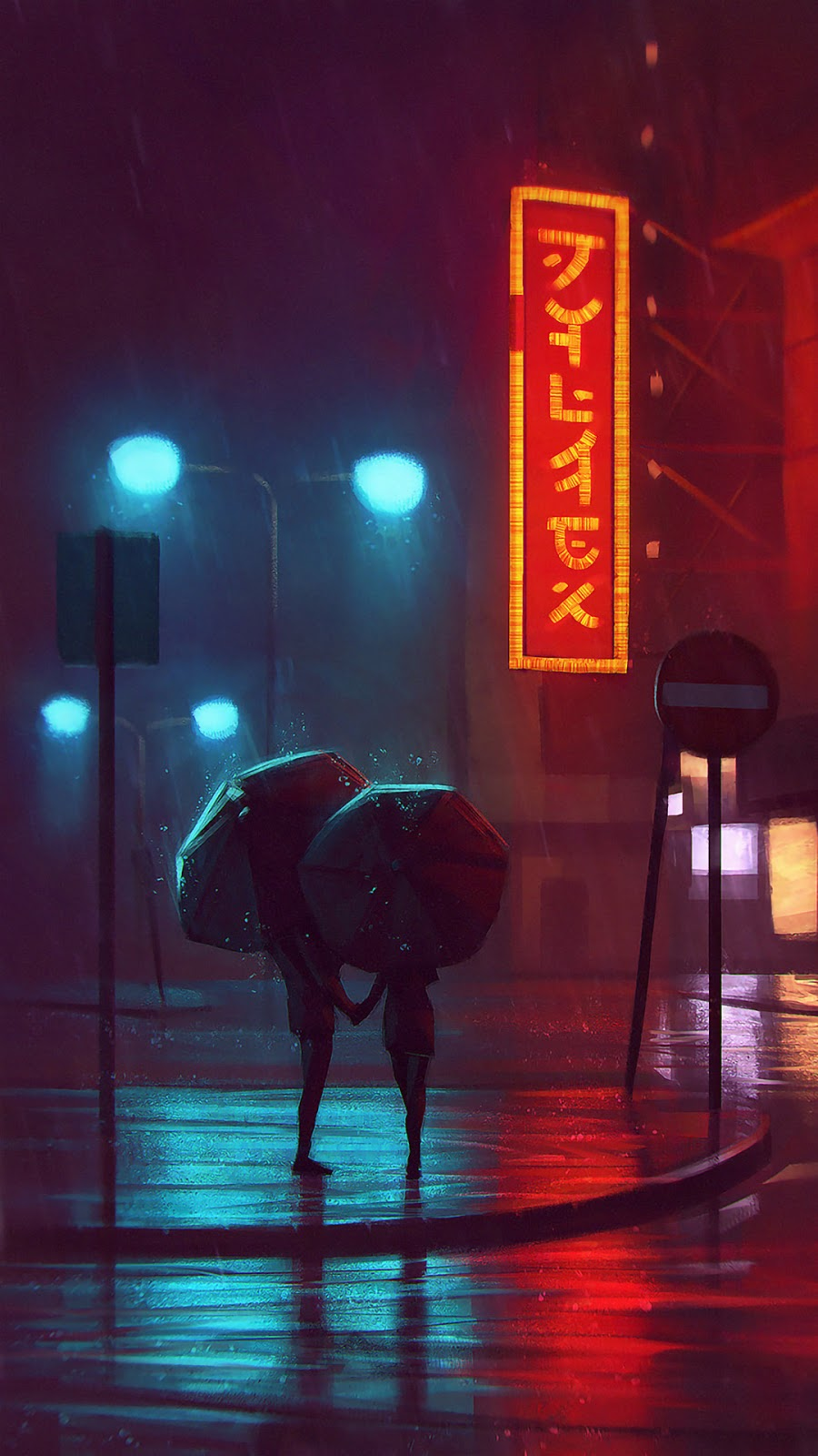 umbrella rain cyberpunk
