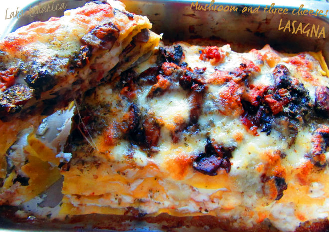 vMushroom and three cheeses lasagna by Laka kuharica: celebration of mushrooms and cheese.