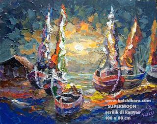 Produk Lukisan Perahu Size 100 x 80 Titel Terang Bulan image