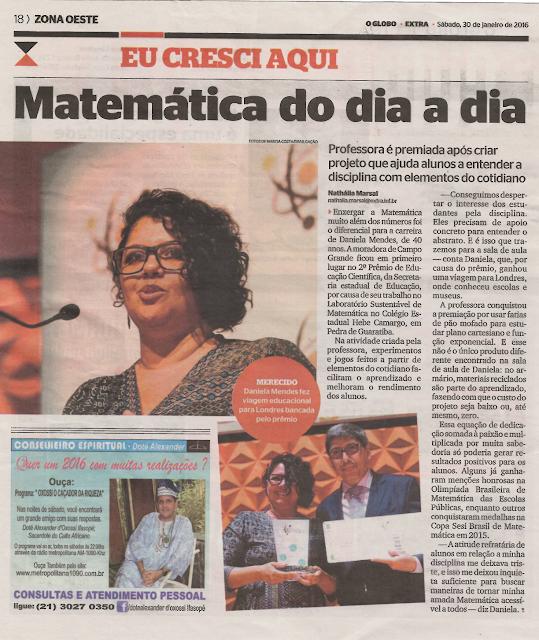 Reportagem sobre o primeiro lugar no Prêmio de Educação Científica e viagem da premiação os Jornais Extra e O Globo