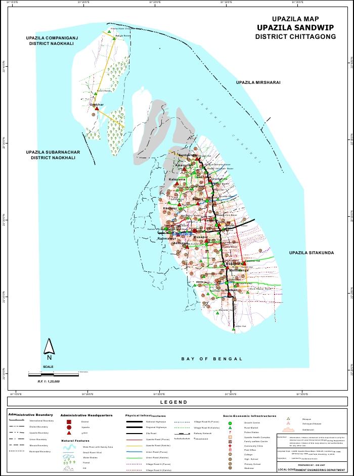 Sandwip Upazila Map Chittagong District Bangladesh