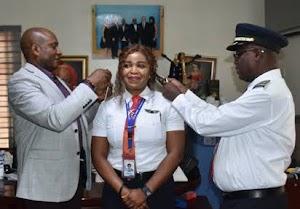 PHOTOS: Meet Miss Sinmisola Decorated As Air Peace First Female Captain