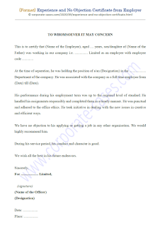 Experience and No Objection Certificate from Employer Format