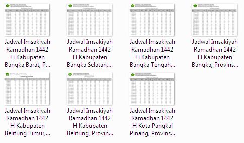Kumpulan Jadwal Imsakiyah Ramadhan 1442 H Seluruh Kabupaten/Kota di Provinsi Bangka Belitung