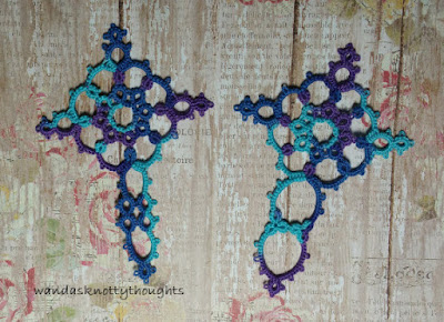 Two tatted Medallion Cross Bookmarks on wandasknottythoughts.blogspot.com