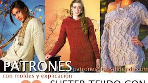 Patrones de 3 Sweaters y 1 Chal rectangular para tejer con dos agujas