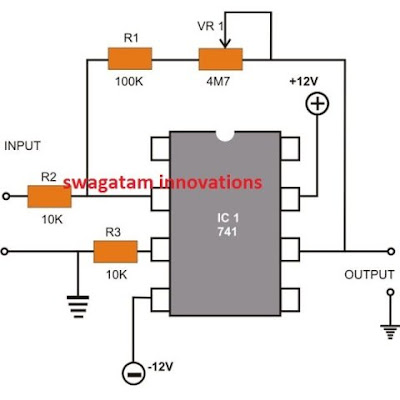 Inverting DC Amplifier using Opamp