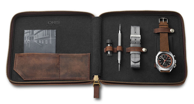 The vintage leather pouch of the Oris Chronoris Limited Edition 2018