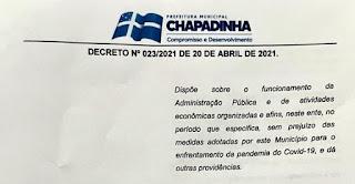 Prefeitura de Chapadinha-MA prorroga medidas restritivas de enfrentamento à Covid-19 por mais 10 dias
