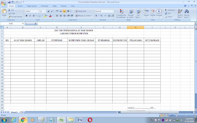 Format daftar perbaikan alat dan bahan di laboratorium komputer sekolah
