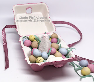 Linda Vich Creates: Mini Egg Carton Easter Treats. Three cheerfully embellished mini egg cartons ready to share some Easter treats!