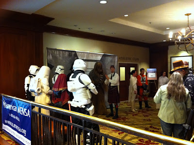People in Star Wars costumes