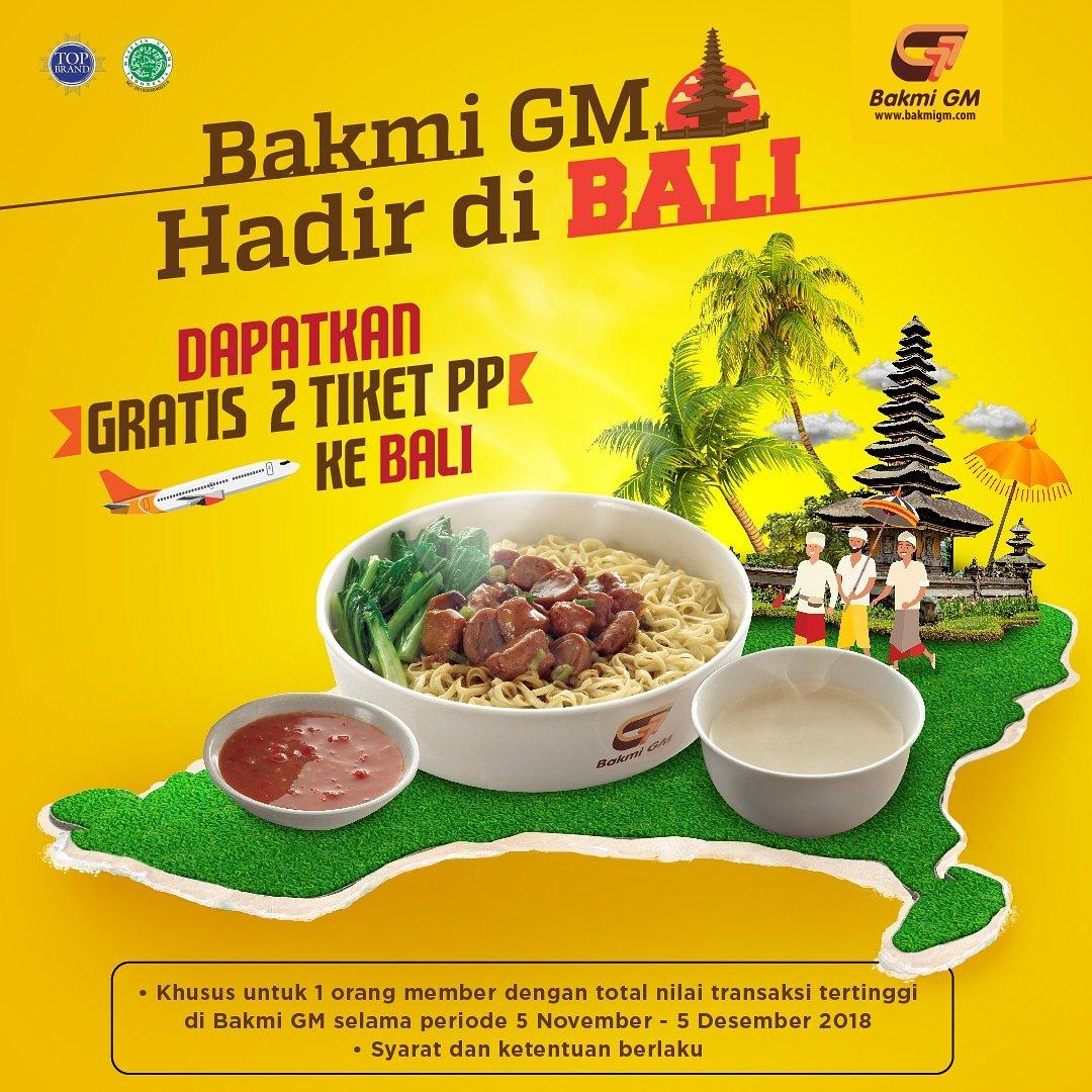 BakmiGM - Promo Member GMania Dengan  Transaksi Tertiggi Gratis Ke Bali (s.d 5 Des 2018)