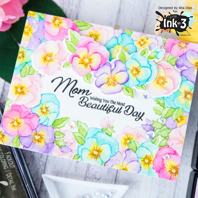 Pansies for Mom Card - No Line Coloring using Fadeout Ink by ilovedoingallthingscrafty