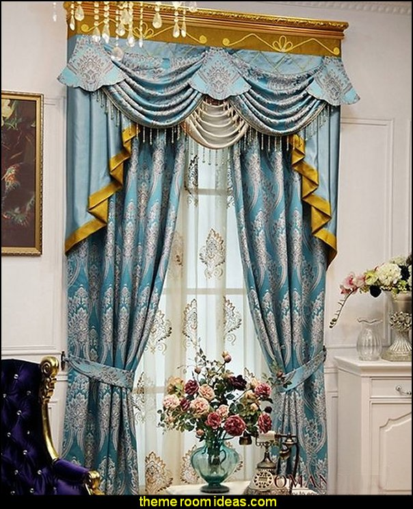 Luxury Window Curtain, Blue King  Luxury bedroom designs - Marie Antoinette Style theme decorating ideas - French provincial furniture baroque style - Louis XVI furniture - Rococo furniture - baroque furniture - marie antoinette bedroom ideas - marie antoinette bedroom furniture