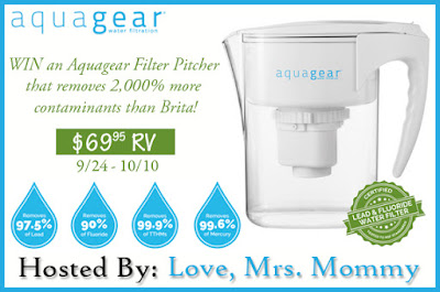 Enter the AquaGear Filter Pitcher Giveaway. Ends 10/10