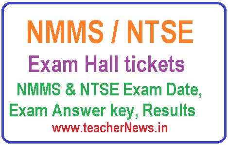 AP NMMS/ NTSE Hall tickets 2018 -NMMS Exam Answer key, Results Exam Date 2018