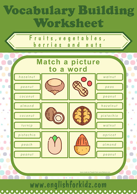 Printable worksheet to learn names of nuts in English