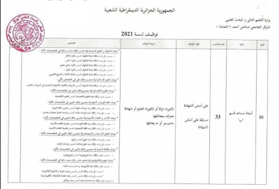 النعامة اعلان عن توظيف المركز الجامعي صالحي احمد