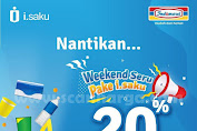 Promo Indomaret i.saku Cashback 20% Weekend Seru 6 November 2019 - 14 Januari 2020