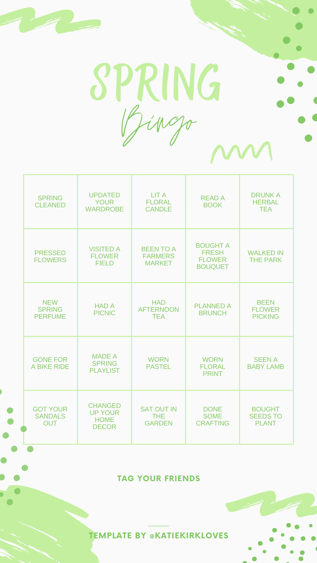 Instagram Story Templates by UK Creator Katie Kirk Loves. These are Spring themed templates you can use for fun, you share them on your Instagram story, fill them in and share with friends. They include Spring themed this or that, spring bingo and which spring flower are you?