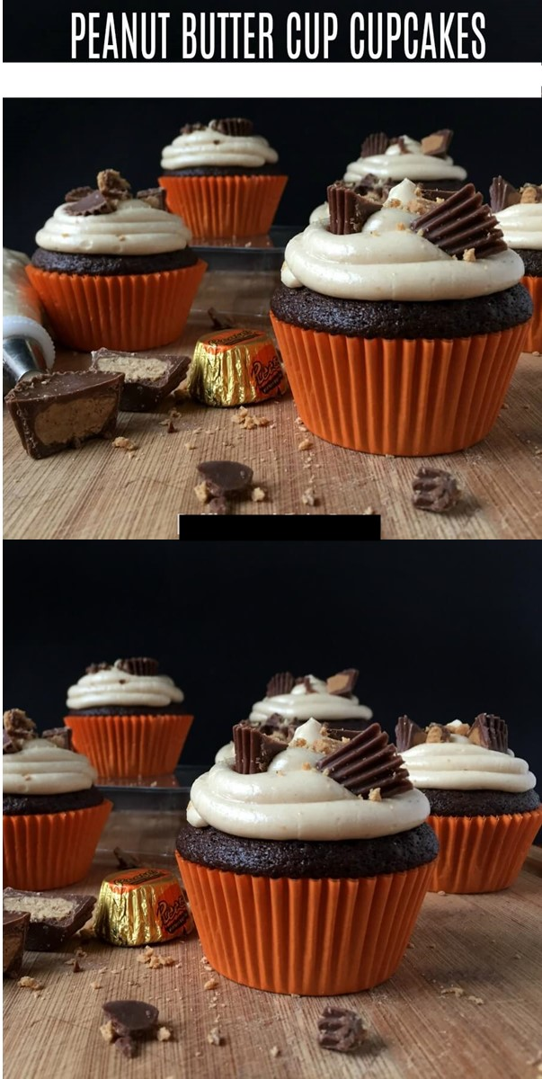 Reese's Peanut Butter Cupcakes with Peanut Butter Buttercream #cupcakerecipes