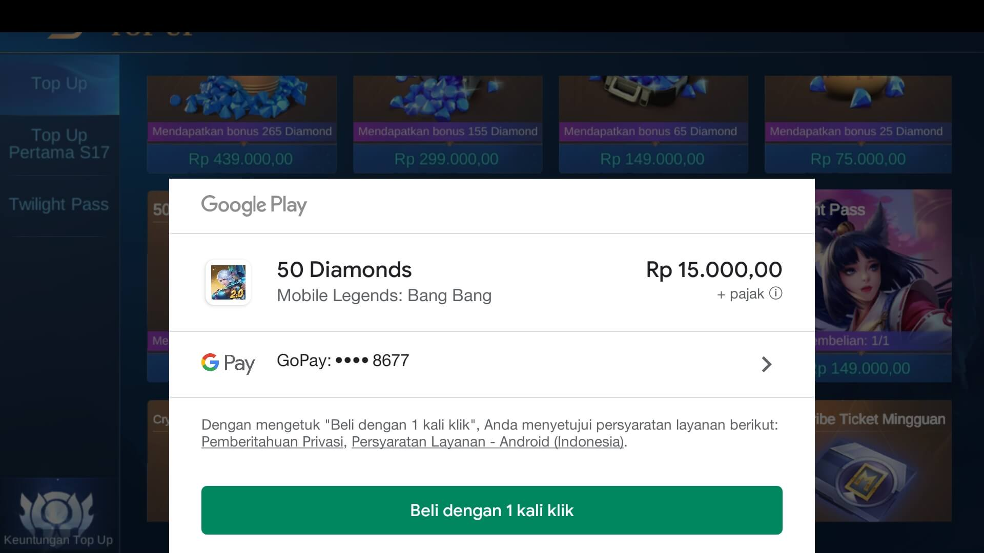 Top Up Diamond Pakai GoPay di Google Play