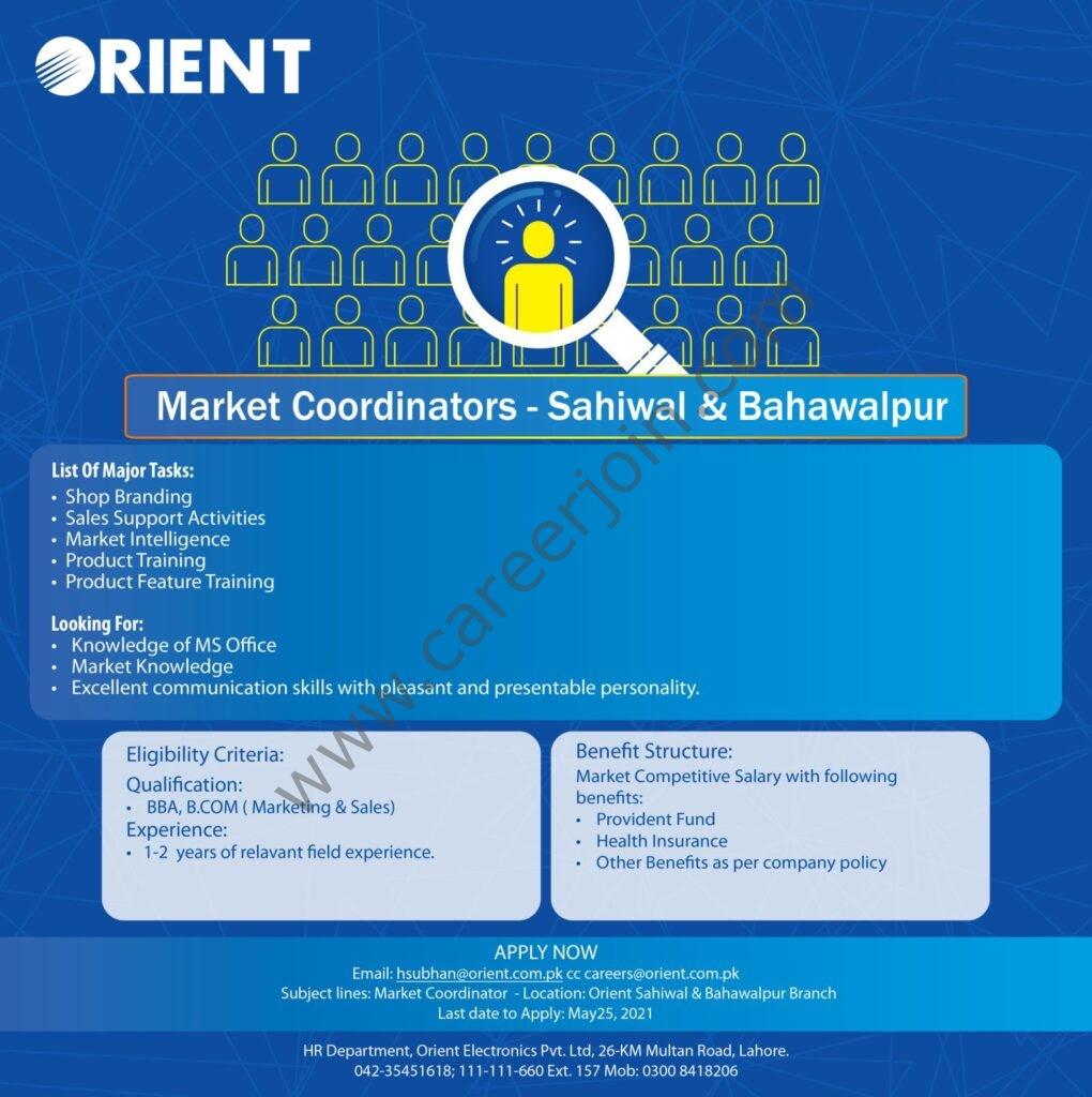 Orient Group of Companies Jobs 2021 Market Coordinators - Orient Jobs 2021 - Apply via careers@orient.com.pk