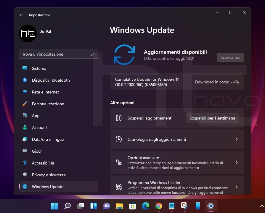 Download, installazione e novità di Windows 11 - Build 22000.160
