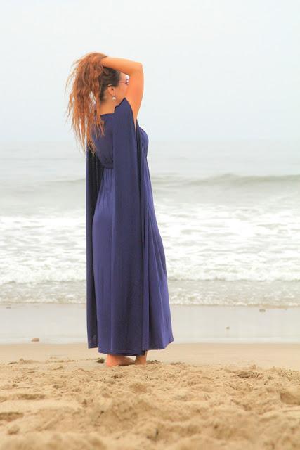 Navy Blue Kaftan Maxi Dress by Mademoiselle Mermaid