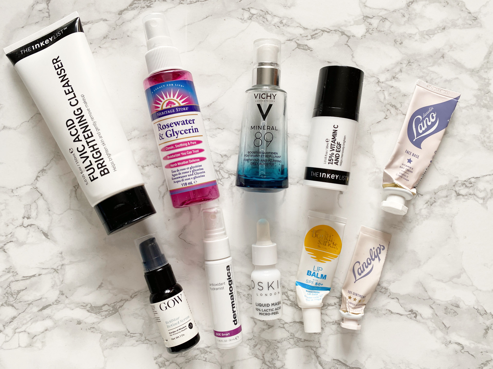 skincare empties review vichy mineral 89 lanolips inkey list
