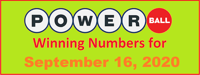 PowerBall Winning Numbers for Wednesday, September 16, 2020