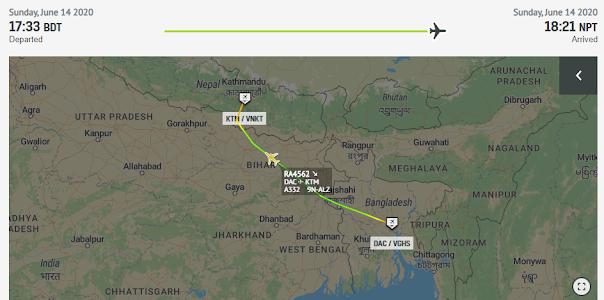 Dhaka to Kathmandu Flight path of Nepal Airlines