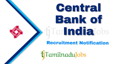 Central Bank of India recruitment notification 2019, govt jobs in India, central govt jobs, govt jobs for graduate, govt jobs for post graduate