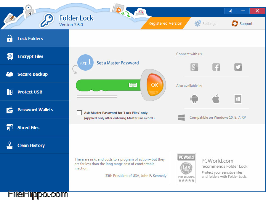 folder lock for windows 7 free download with serial key