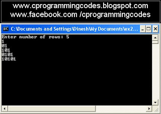 Output of 1 and 0 pyramid C program