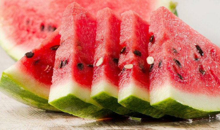 Watermelon contains 92 percent water which is instrumental in reducing bloating.