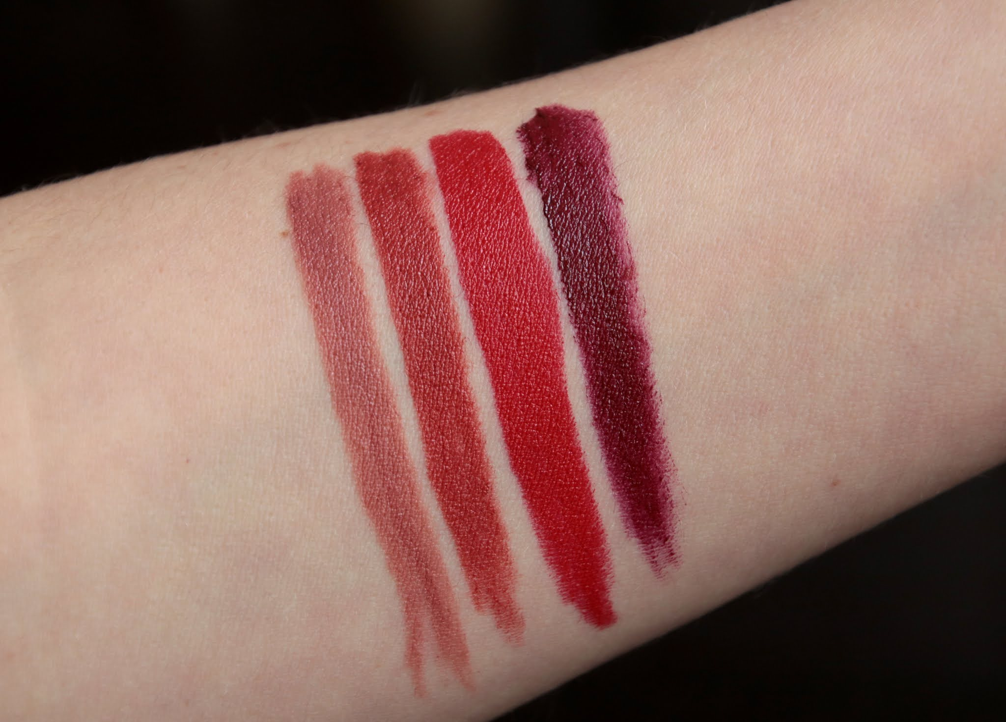 Bobbi Brown Luxe Defining Lipstick Orchid noir Terracotta First Edition redefined swatch