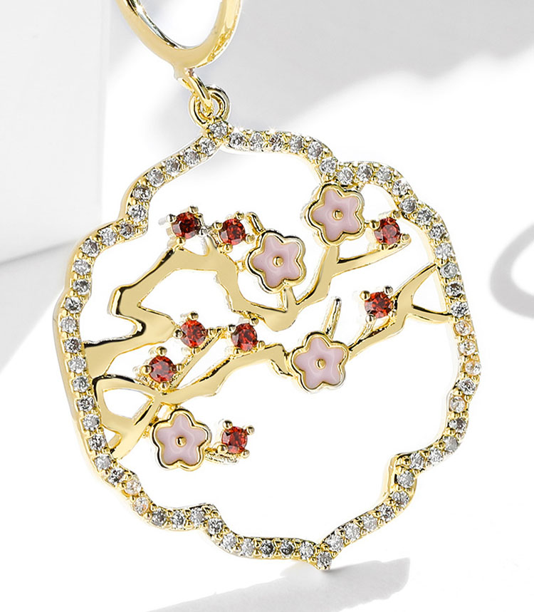 古典中國風梅花水鑽鏤空耳環