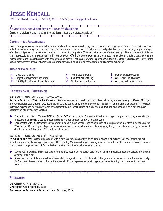 project manager enterprise example resume
