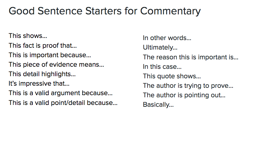 how to write a good commentary sentence