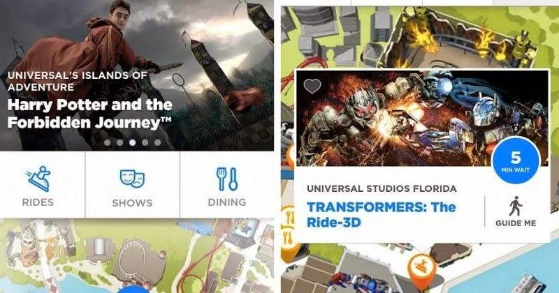 Aplicativo dos parques da Universal Orlando