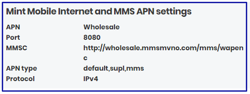 Mint Mobile Data Settings