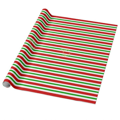 Horizontal Retro Red Green White Stripes Custom Gold Text Christmas Wrapping Paper