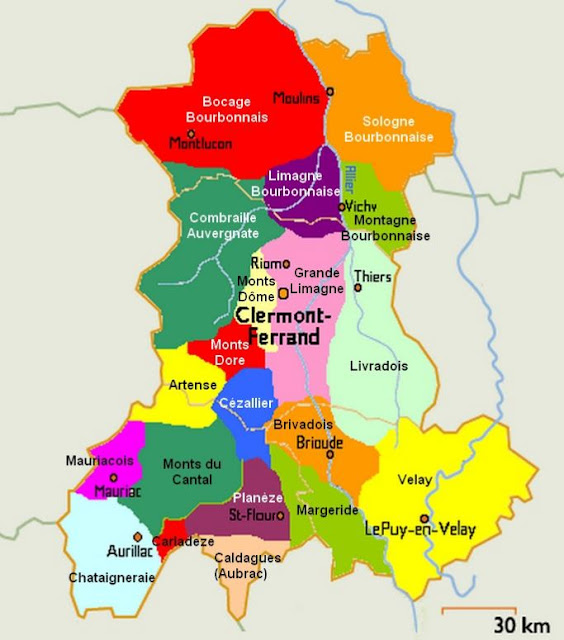 Carte des Pays d'Auvergne