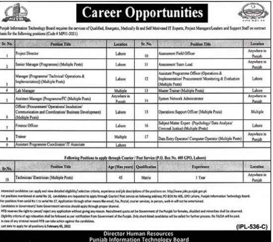 pitb-jobs-2021-apply-online-punjab-information-technology-board